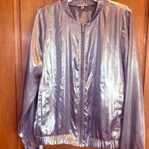 Juicy Couture Women Silver Metallic Bomber Jacket